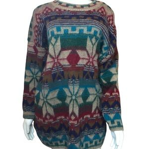 Vintage Oversized Geometric Pattern Needles & Yarn Grandpa Sweater M